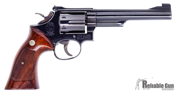 """Picture of Used Smith & Wesson (S&W) Model 19-4.357 Mag Revolver, Blued, 6"""" Barrel, 6 Rd, Wood Grips, Target Hammer & Trigger, Good Condition"""