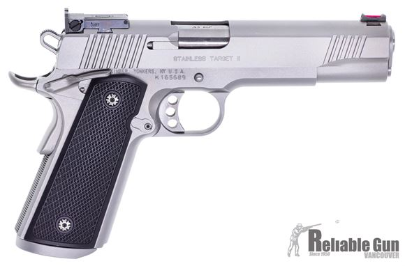 "Picture of Used Kimber Stainless Target II 1911 Semi Auto Pistol, 45 ACP, 5"", 8rd, Target Rear and Fiber Optic Front Sight, Excellent Condition"