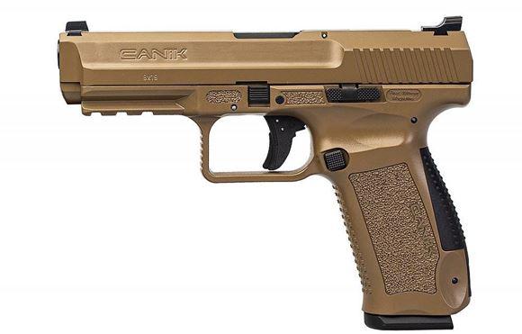 "Picture of Century International Arms Ltd, Canik TP-9 SF Single Action Semi-Auto Pistol - 9mm, 4.5"", Cerakote FDE, FDE Polymer Frame, 2x10rds, Warren Tactical Sights, Bottom Rail, Holster"