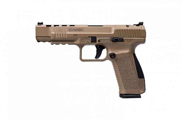 "Picture of Century International Arms Ltd, Canik TP-9 SFX Optic Ready SA Semi-Auto Pistol - 9mm, 5.2"", FDE Cerakote, FDE Polymer Frame, 2x10rds, Warren Tactical Green & Red Fiber-Optic Sights, Bottom Rail, Holster, Optic Plates"