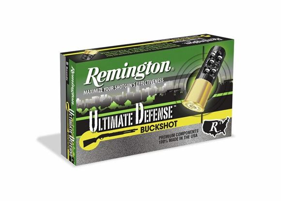 "Picture of Remington Home Defense, Ultimate Defense Managed Recoil Shotgun Ammo - 12ga, 2-3/4"", 21 Pellets, #4 Buck, 5rds Box, 1200fps"