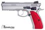 Picture of Used CZ 75 SP01 Shadowmate Semi-Auto 9mm, Silver, Red Maple Leaf Grips, 4 Mags & Original Case, Very Good Condition