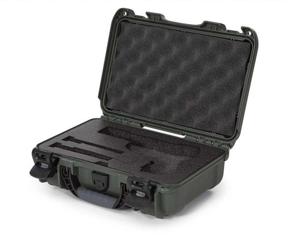 "Picture of Nanuk Professional Protective Cases - Classic Single Pistol Case, Pre-cut Foam, Waterproof & Impact Resistant, 12.64"" x 9"" x 4.38"", Olive"