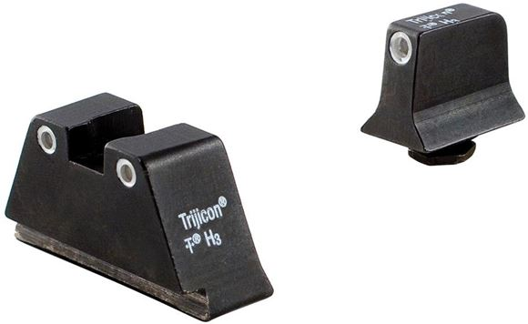 Picture of Trijicon Iron Sights, Trijicon Bright & Tough Night Sights (Suppressor Series) - Glock, GL201-C-600650, Glock Bright & Tough Night Sight Suppressor Set, White Front w/Green Lamp & White Rear w/Orange Lamp, Fits Glock Models 17/17L/19/22/23/24/25/26/27/28