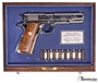Picture of Pre Owned Colt 1911 Commerative, 1970 WWII 25th Anniversary European- African Middle Easten Theatre, Polished Nickel w/Engraving, Original Display Case & Certificate, Excellent Condition