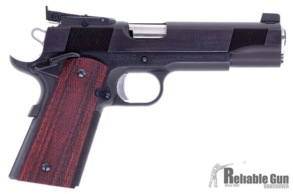 Picture of Used Les Baer Special Custom 1911 Match, 9mm Luger, 5'',  Blued Frame And Slide, Deluxe Checkered Grips, Aristocrat Target Sights, 1 Magazine, Excellent Condition